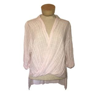 UO Silence + Noise Twist Front Soft Pink Blouse S